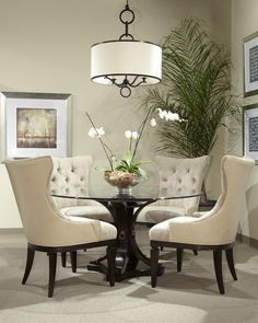 Classic Glass Round Table Dining Room Set 12885