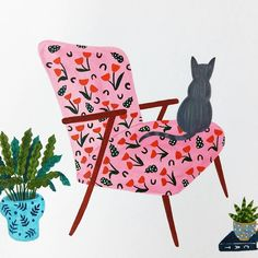 by Atelier Rena Art And Illustration, Cat Illustrations, Cat Plants, Gouache, Pattern Art, Cat Art, Modern Art, Art Drawings, Creations