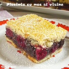 placinta-cu-mac-si-visine-5 Romanian Desserts, Sandwiches, Sweet Treats, Food And Drink, Pie, Sweets, Cookies, Baking, Knits