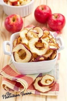 Skinny Speedy Sugar & Spice Apple Chips | Super Easy to Make | Healthy, Guilt-free Snack | Only 11 Calories/ Serving! | For MORE RECIPES, fitness & nutrition tips please SIGN UP for our FREE NEWSLETTER http://www.NutritionTwins.com
