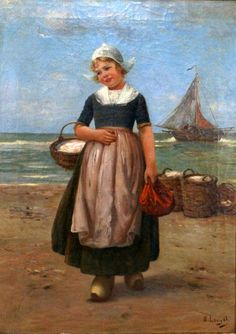 Young Dutch Girl With A Basket Of Fish