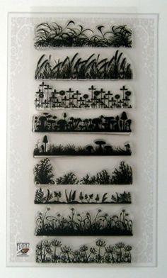 Grass Borders Art Deco // Klare Stempel Paket (10x18 cm) FLONZ