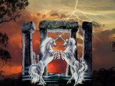 Two Unicorns - Desktop Nexus Wallpapers Unicorn Pictures, Unicorn Pics, Lightning, Storytelling, Mythology, Fantasy Art, Game Of Thrones Characters, Unicorns, Fairy