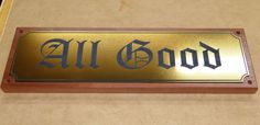Red gum House sign with engraved gold plate for exterior use