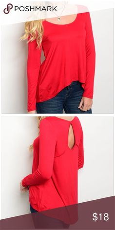 Long sleeve scoop neck jersey top. Long sleeve scoop neck jersey top.  Color: Red  Country: USA Fabric Content: 95% RAYON 5% SPANDEX Size Scale: XS-S-M Tops