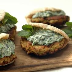 I love these vegetarian patties. Delicious tucked inside hot toasted mini pitta breads and topped with Spinach Raita or serve on large, grilled mushrooms topped with Spinach Raita. Grilled Mushrooms, Stuffed Mushrooms, Chickpea Patties, Best Vegetarian Recipes, Picnic Foods, Meatless Monday, Lentils, Healthy Eating, Ethnic Recipes