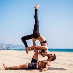 """Couples and friends that sweat together stay together. <a href=""""/body/fitness/2015/02/partner-workouts-self-staff-top-fitness-relationship-tips/"""">Here's the proof</a>. One of the most exciting (and potentially steamy) partner workouts is acro-yoga, a practice that combines the flexibility and strength of yoga with the grace of acrobatics. We featured power yoga couple Briohny Smyth and Dice Iida-Klein's stunning flow in our February issue. """"When I'm flying, Dice supports me, but that doesn't"""