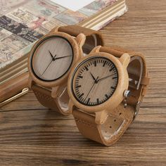You will look great with this unique and attractive all-natural eco-friendly bamboo wristwatch.  For men and women – it's lightweight, fun, casual, and comfortable.  Two different styles available.