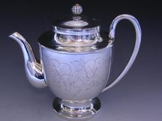Wonderful Antique Chinese / Japanese Silver TEAPOT w/ floral patterns - signed