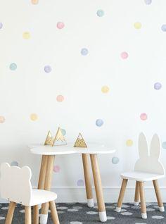 Watercolor Dots Wall Stickers, Pastel, Irregular-Shaped Dots, Polka Dots, Dot Wall Stickers - Peel and Stick Wall Stickers Pastel Walls, Pastel Room, Playroom Design, Kids Room Design, Wall Design, Design Design, House Design, Polka Dot Walls, Polka Dots