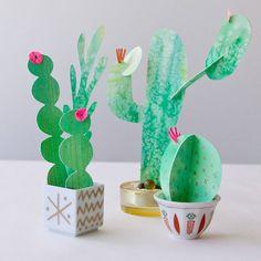 Cactus en papier peints à l'aquarelle