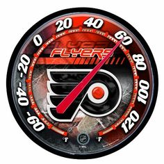 """NHL Philadelphia Flyers Thermometer by WinCraft. $21.69. Officially licensed thermometer. A great fan item to measure the temperature. All plastic construction with a built in hanger. Measures 12.75"""" in diameter and comes ready to hang outdoors. Made in USA."""