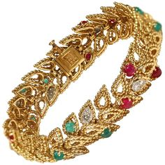 1960s Van Cleef & Arpels Paris Gem Gold Bracelet