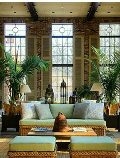 high ceiling, tall windows, shutters, and plants make this room stand out West Indies Decor, West Indies Style, British Decor, British Colonial Decor, Tropical Houses, Home And Deco, Style At Home, Living Room Decor, House Design