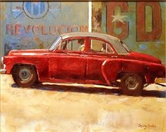 Havana Style V - original artwork that transports us to the streets of Cuba by Jeremy Sanders.  http://www.smartgallery.co.uk/artists/jeremy-sanders-originals