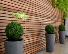 Today we have a collection of beautiful modern fence design ideas in the form of pictures for your inspiration. Garden Privacy, Backyard Privacy, Backyard Fences, Garden Fencing, Backyard Landscaping, Cedar Cladding, Timber Battens, Privacy Fence Designs, Cedar Fence