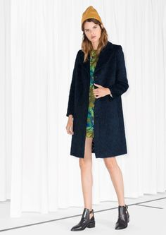 dark blue wool coat, blue hairy coat,