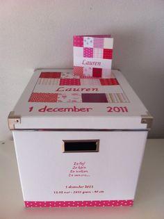Geboortedoos Lauren | Geboortedoos (handbeschilderd) | KidsDecoEnZo Filing Cabinet, Studio, Groot, Memories, Euro, Baby, Kids, Stickers, Home Decor