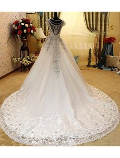 Gorgeous A-line V-Neck Cathedral Train Lace and rhinestone Luxury Wedding Dress