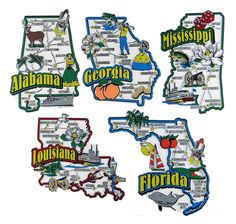 Alabama Florida Georgia Louisiana Mississippi Map State Magnets