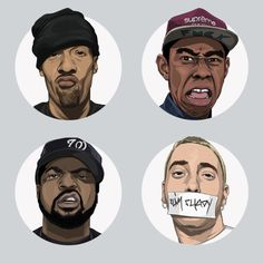Hip Hop Heads By John Lee (Keebs) an LA Illustrator/designer. High vector graphic. The detail in the faces from the shadowing, lines/wrinkles freckles etc and small specific details like eye colour and reflection in the eye. give the image amazing detail. The simplicity of the layout and background colouring makes the illustration clean and simple.