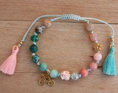 Gemstone Boho Bracelet,Bohemian woven bracelet with tassel