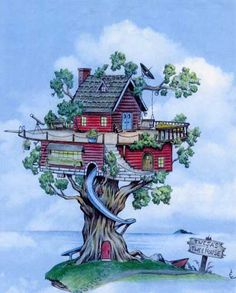 Fantasy Tree House Drawing Twesas treehouse