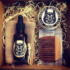 "The Graabein ""Hardhaus"" beard care giftbox. It contains Beard Oil, Beard Balm, a wooden Beard Comb and a small Burlap bag for safe keeping. Beard Balm, Smell Good, The Balm, Burlap, Oil, Hessian Fabric, Canvas"
