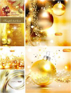 Shining golden Christmas cards vector