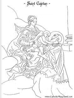 Saint Cajetan Catholic coloring page: Feast day is August 7th
