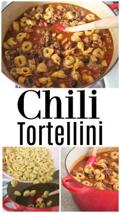 Beef Recipes Chili Tortellini, simple weeknight dinner the whole family enjoys! Easy Dinner Recipes, Appetizer Recipes, Yummy Recipes, Dinner Ideas, Dinner Menu, Lunch Recipes, Vegetarian Recipes, Appetizers, Pasta