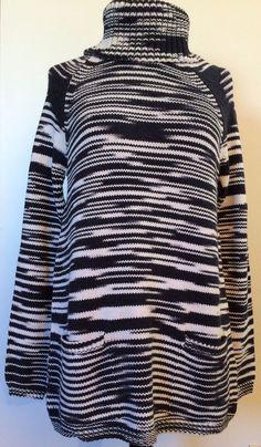 Lucky Brand Ws Sweater 7W50973 Sz L; Long, Turtle Neck Bk/Wh Stripes $119.00 NWT #LuckyBrand #Turtleneck