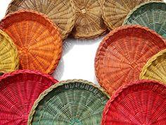 Lot 8 Modern Braided Wicker RED Rattan Woven Paper Plate Holders Christmas   Childhood & Lot 8 Modern Braided Wicker RED Rattan Woven Paper Plate Holders ...