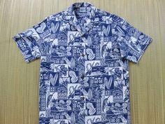 Hawaiian Shirt ROYAL CREATIONS Surfer Aloha Shirt Surfboard Ukulele Woody Mosaic Print 100% Cotton Camp Mens - S - Oahu Lew's Shirt Shack by OahuLewsShirtShack on Etsy