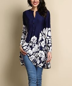 Reborn Collection Navy Floral Button-Up Shift Tunic | zulily