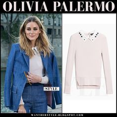 Olivia Palermo in denim blazer, denim trousers and pink embellished collar sweater