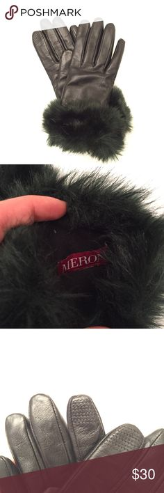 Merona Leather Gloves with Iphone Touch NWT New with tags. Black. Faux fur cuffs. Touchscreen index. Merona Accessories Gloves & Mittens
