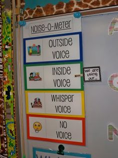 noise-o-meter....have 2 clothespins. Label one 'This is where we should be' and the other, 'This is where we are'.