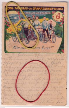 Lyra Fahrrad Nähmaschinen Werke Prenzlau Reklame AK 1906 Richard Ladewig | eBay