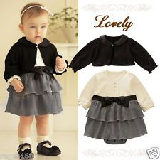 Baby Girl Formal Dress with Cardigan Outfit Christening Wedding Party Birthday