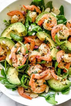 I could eat this Citrus Shrimp and Avocado Salad for breakfast, lunch an Whoa!& I could eat this Citrus Shrimp & and Avocado& Salad for breakfast, lunch and dinner! Healthy Dinner Recipes For Weight Loss, Salad Recipes For Dinner, Dinner Salads, Healthy Snacks, Healthy Eating, Healthy Recipes, Clean Eating Dinner Recipes, Clean Eating Shrimp, Salad Recipes Gluten Free