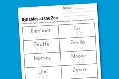 Syllables at the Zoo Preschool and Kindergarten free printable worksheet #printables #kindergarten #english