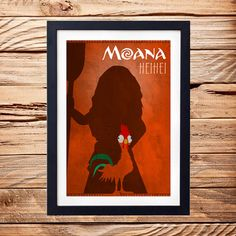 Moana Hei Hei Movie Poster, Moana Rooster Movie Poster, Moana Movie Print, Moana…