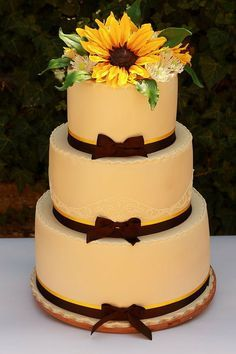 """Sunshine and Sunflowers""  wedding cake"