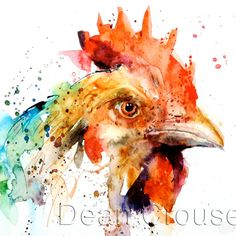 CHICKEN high quality giclee watercolor print by Dean Crouser. CHICKEN signed an numbered giclee print, edition limited tyo Printed Watercolor Bird, Watercolor Animals, Watercolor Paintings, Encaustic Painting, Watercolor Pencils, Watercolours, Rooster Painting, Rooster Art, Chicken Painting
