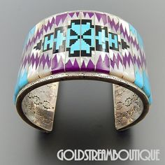 5364f40d9eb Massive LW Native American Museum Quality Gemstone Micro Inlay Rug Pattern  Heavy Cuff Bracelet Pulseiras