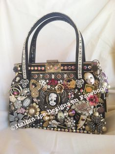 CUSTOM vintage handbag embellished with old jewelry brooches, parts pieces cameos & rhinestones by ItalianIceDesigns, $650.00