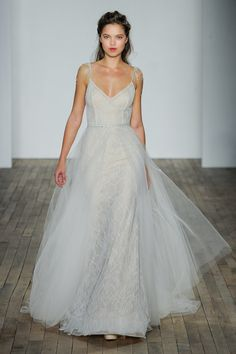Lazaro Fall 2018 Style Ivory Chantilly lace over shimmer net trumpet gown, V-neckline with chandelier crystal strap at shoulder, detachable sparkle tulle overskirt with jeweled band at natural waist Lazaro Wedding Dress, Lazaro Bridal, Bridal Wedding Dresses, Wedding Attire, Bridal Style, Lace Wedding, Summer Wedding, Dream Wedding, Tulle Ball Gown