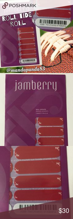 Jamberry University of Alabama Nail Wraps NWT ❤️ Show your team spirt with your Alabama nail wraps! Jamberry collaborated with the Collegiate schools to bring us a new way for women sport fans to show team spirit! Roll Tide Roll! Jamberry Accessories