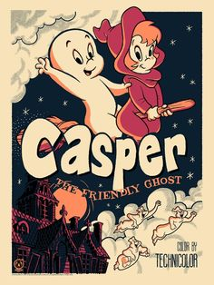Casper The Friendly Ghost - Vintage Variant - cartoons &comics Screen Print Poster, Poster Wall, Poster Prints, Vintage Cartoons, Vintage Comics, Vintage Disney Posters, Vintage Mickey, Diy Poster, Casper The Friendly Ghost